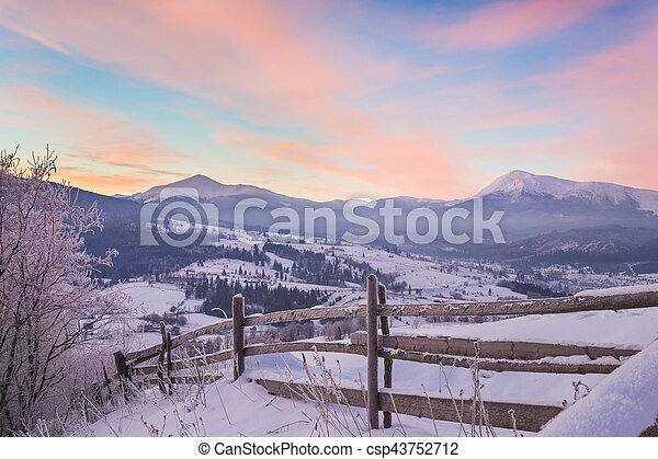 majestic sunset in the winter mountains - csp43752712