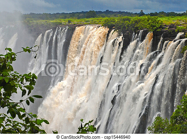 majestic view with Victoria falls(South Africa) - csp15446940