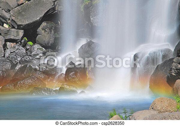 majestoso, arco íris, cachoeira, coloridos - csp2628350