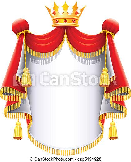 majestueux, couronne, royal, or, manteau - csp5434928