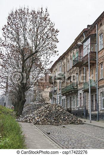 Major paving stone. street repair in Lviv - csp17422276