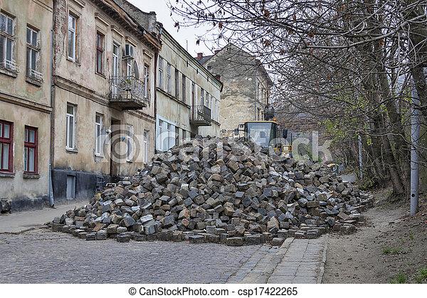 Major paving stonestreet repair in Lviv - csp17422265