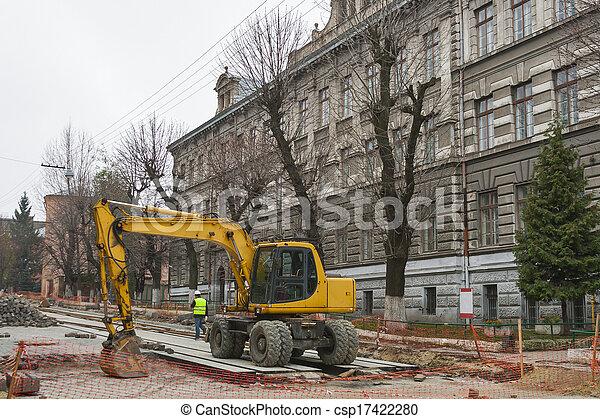 Major street repairing in Lviv - csp17422280