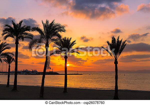 Majorca El Arenal sArenal beach sunset near Palma - csp26078760