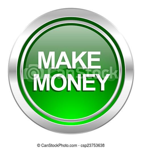 make money icon, green button - csp23753638