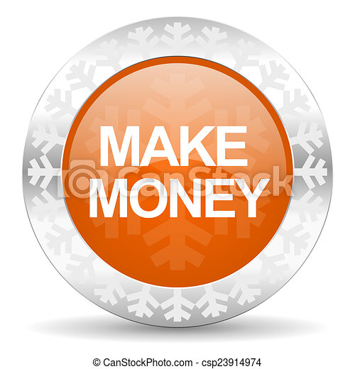 make money orange icon, christmas button - csp23914974