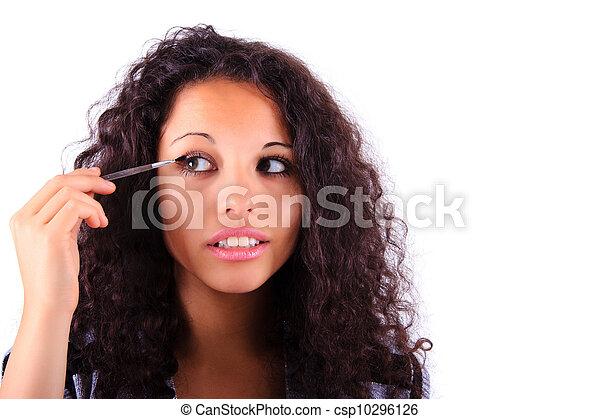 Make-up applying. Eye shadow brush - csp10296126