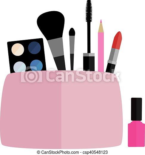 make up bag vector cosmetic bag with make up vector illustration rh canstockphoto com