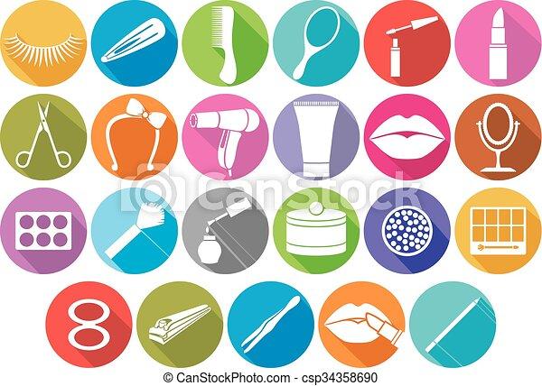 make up flat icons set - csp34358690