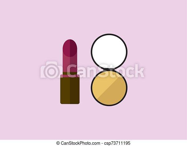 Make up, illustration, vector on white background. - csp73711195
