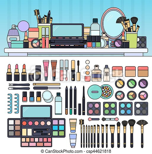 Make Up Kit In The Beauty Store Vector