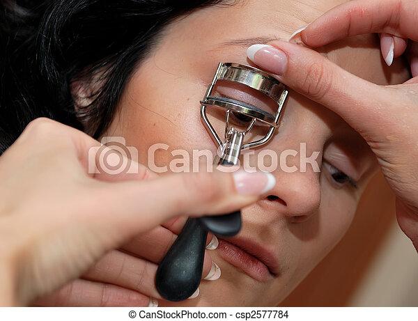 Make-up. Modeling the eyelashes - csp2577784