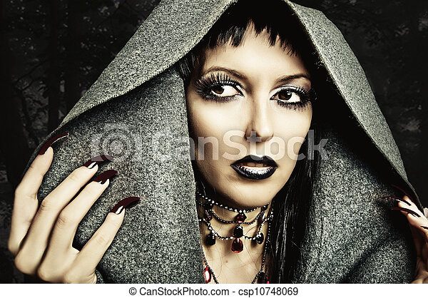 make up, nails of sexy evil witch - csp10748069