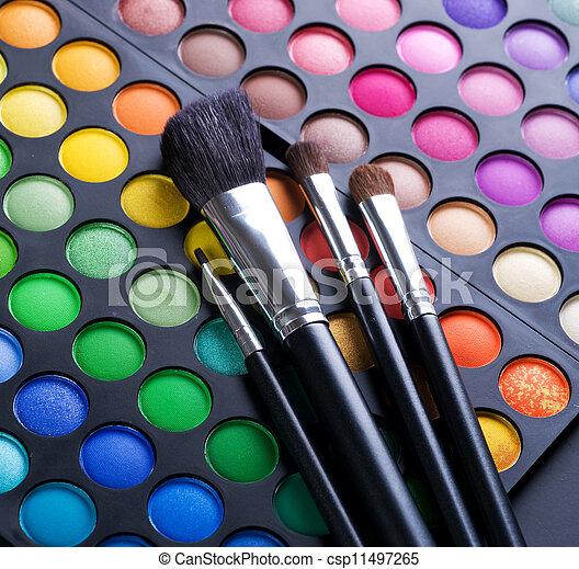 make-up, schaduwen, makeup, oog, borstels - csp11497265