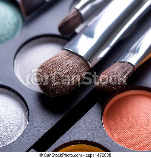 make-up, schaduwen, makeup, oog, borstels - csp11472638