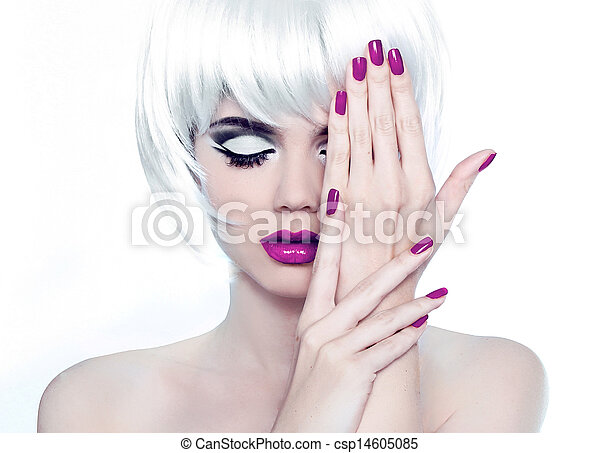 Makeup and Manicured polish nails. Fashion Style Beauty Woman Portrait with White Short Hair. - csp14605085