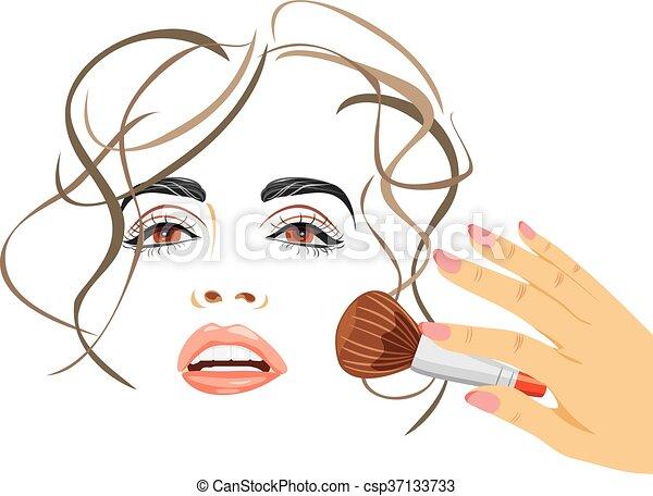 Makeup. Applying blush with a brush - csp37133733