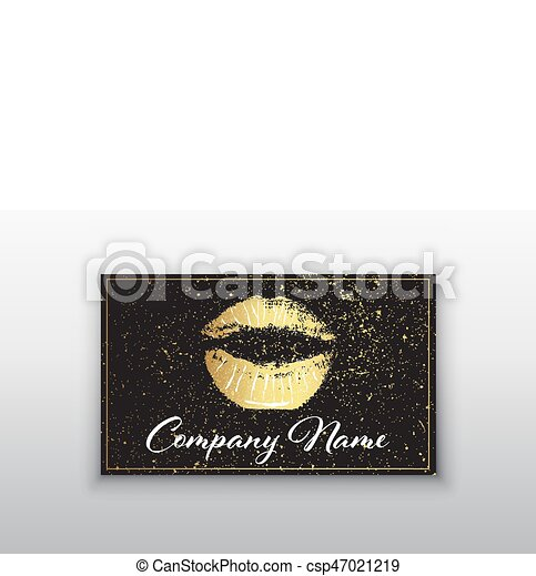 Makeup artist business card business cards template with vector makeup artist business card business cards template with gold lips print and black brush accmission Image collections