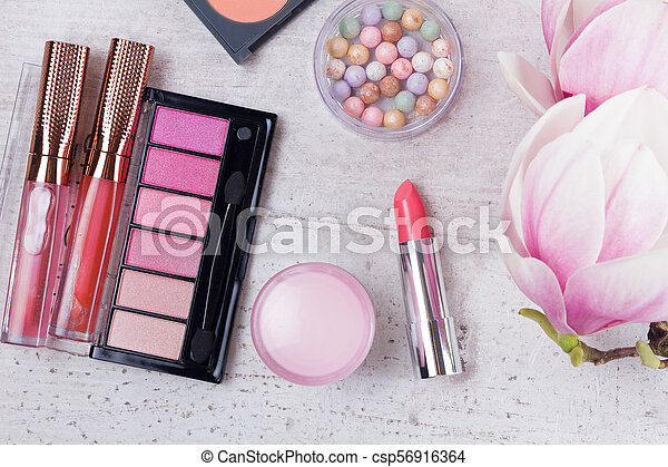 Professional Makeup Beauty Products Flat Lay On White Background