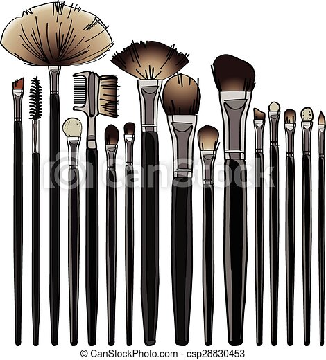 Makeup Brush Set. Vector Illustration For Your Design Cosmetic Banners Brochures And ...