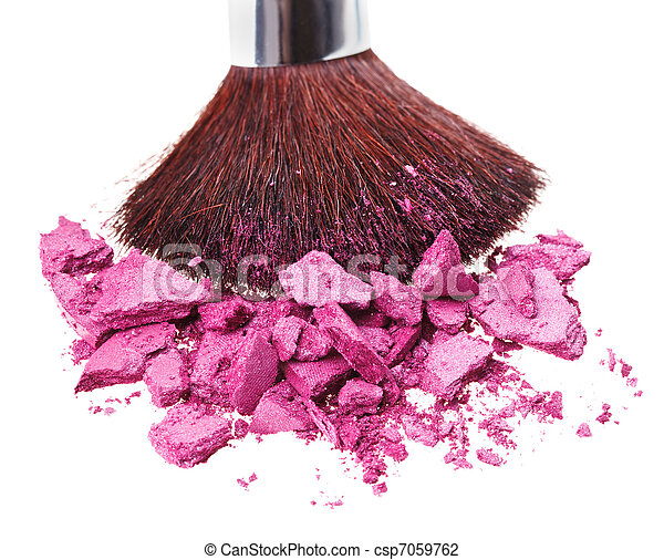 Makeup brush with purple crushed eye shadow, isolated on white macro - csp7059762