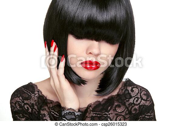Makeup. Fashion bob Haircut. Hairstyle. Long Fringe. Short Hair  - csp26015323