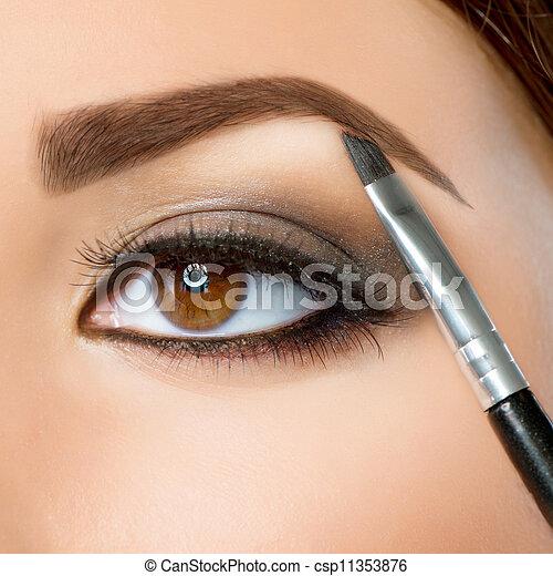 makeup., oczy, brew, brązowy, make-up. - csp11353876