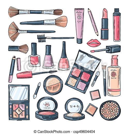 Makeup Products For Women Colored Hand Drawn Illustrations Of Different Cosmetic Accessories