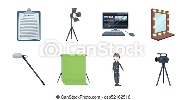 Making a movie icons in set collection for design. Attributes and Equipment vector symbol stock web illustration. - csp52162516