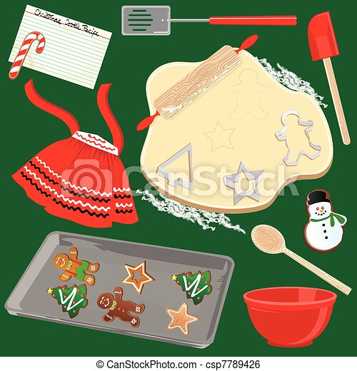 Christmas Cookies Clipart.Making And Baking Christmas Cookies
