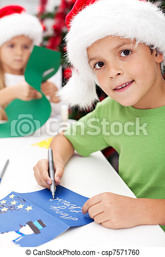 Making and writing christmas greeting cards kids making and writing making and writing christmas greeting cards csp7571760 m4hsunfo