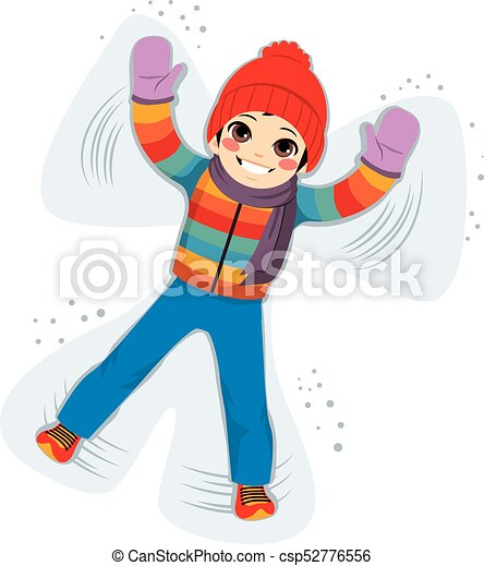 young smiling boy enjoying making snow angel silhouette clipart rh canstockphoto com making snow angels clipart Playing in the Snow Clip Art
