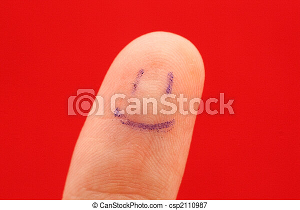 Makro, finger. On., gemalt, makro, smiley, polster, finger Bild ...
