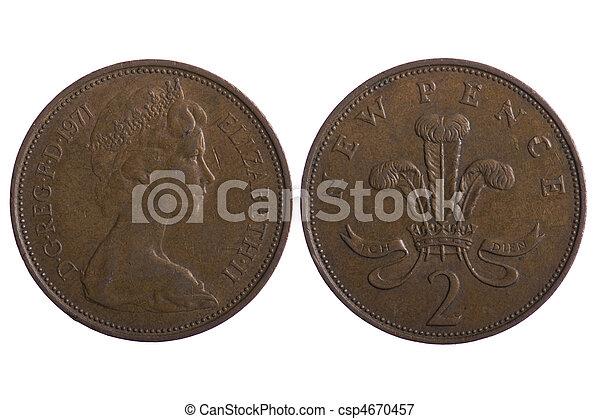 Makro Geldmünzen Englisches Gegenstand Geldmünzen Auf