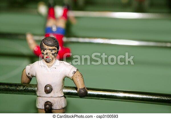 makro, labdarúgás, részletez, játékos, asztal, idős - csp3100593