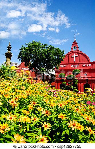 malásia, histórico, christ, malacca, igreja - csp12927755