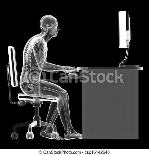 mal, sentado, postura - csp16142648