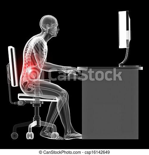 mal, sentado, postura - csp16142649