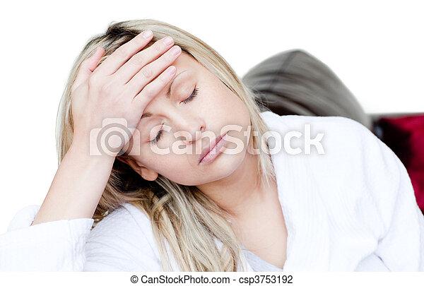 mal tête, avoir, femme, malade - csp3753192