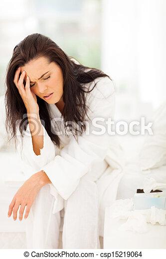 mal tête, femme, avoir, lit, séance - csp15219064