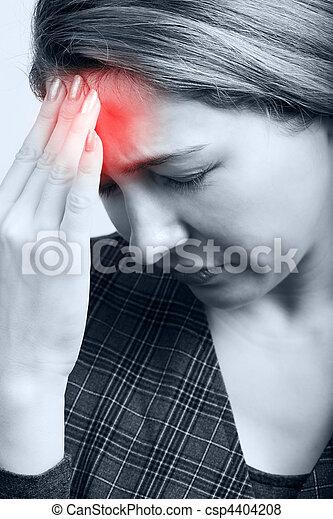 mal tête migraine, femme, ou, fatigué - csp4404208