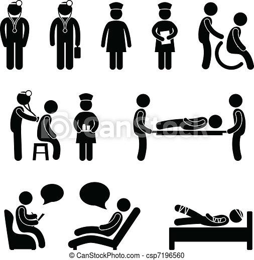 malade infirmière, hôpital, malade, docteur - csp7196560