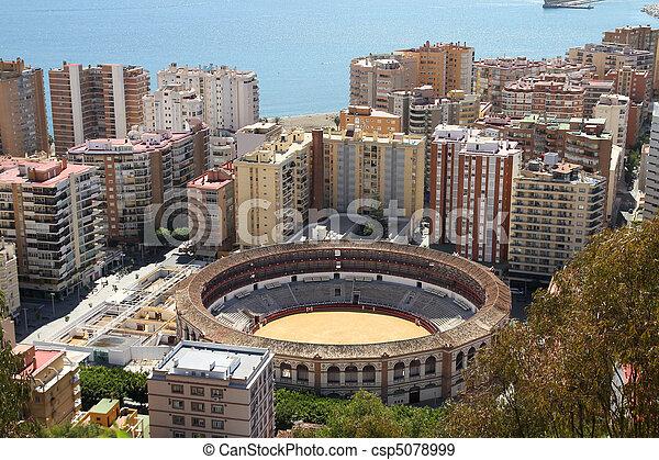 Malaga in Andalusia region of Spain. Famous bull ring stadium. - csp5078999