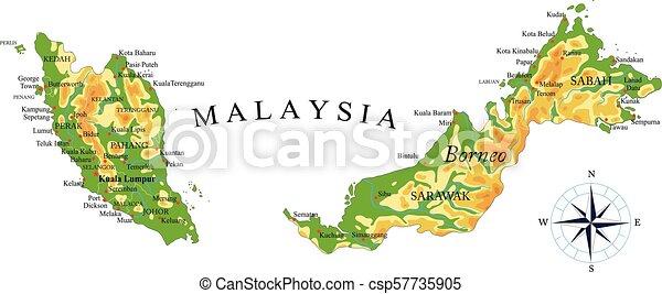 Mapa Fisica Malasia Mapa Fisica Muy Detallada De Malasia En