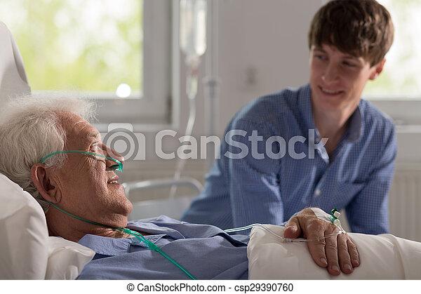 malato, visitare, nipote, nonno - csp29390760