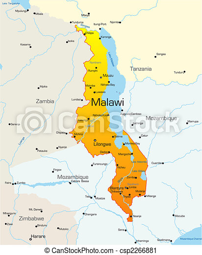 Abstract vector color map of malawi country vector clip art Search