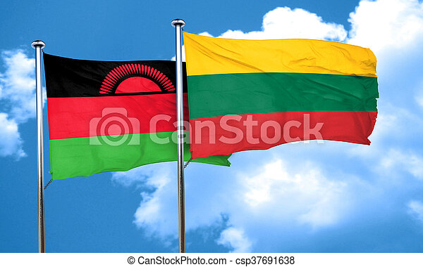 Malawi flag with Lithuania flag, 3D rendering - csp37691638