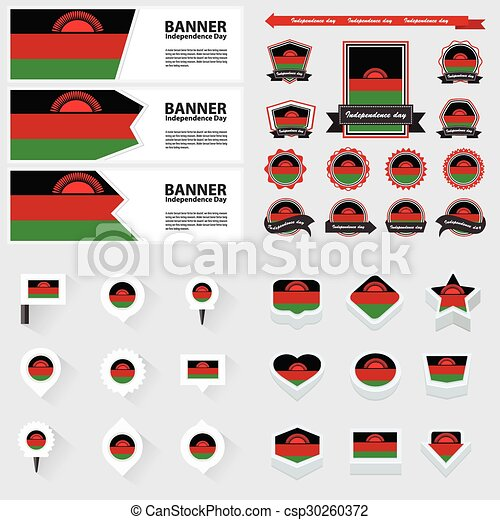 Malawi independence day, infographic, and label Set. - csp30260372