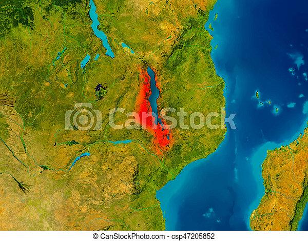 Malawi on physical map - csp47205852