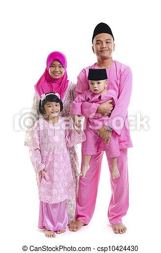 malay family during hari raya  aidilfitri - csp10424430